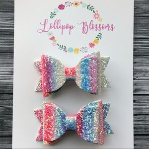 Pigtail Glitter Bows